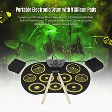 Portable Electronic 9 Pads Roll Up Silicone Drum with Drumsticks and Sustain Pedal Children Students Practice