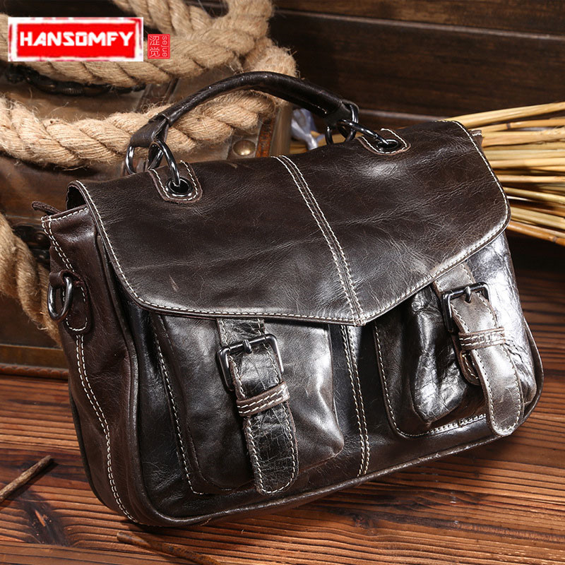 New vintage Women Handbags head layer Cowhide Leather Tote women oil wax leather messenger bag 100% genuine leather shoulder Bag