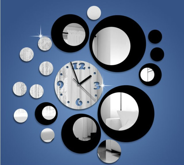 Creativity 3D Mirror Wall Art Sticker Clocks Modern Design Antique Households Decor Novelty Crystal Gifts - Fashion Home Shop store