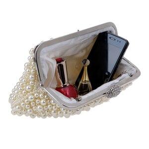 Image 5 - Phụ nữ sứ giả đính cườm phụ nữ tối túi cổ điển giả ngọc trai phụ nữ vỏ bag shoulder bags, kim cương ly hợp túi cho đám cưới