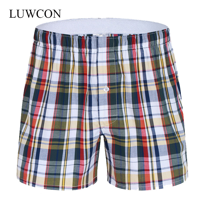 LUWCON Boxer-Shorts Underpants Lounge Loose Cotton Mens High-Quality Brand Plaid Leisure