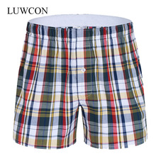 LUWCON Brand Loose Plaid Cotton Mens Underwear Boxer Shorts High Quality Leisure Lounge Home Wear Underpants