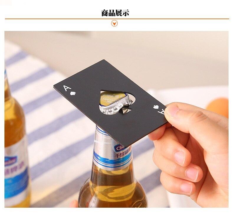 100 pièces bière noire ouvre-bouteille Poker carte à jouer Ace de pique Bar outil Soda bouchon ouvre cadeau cuisine Gadgets outils