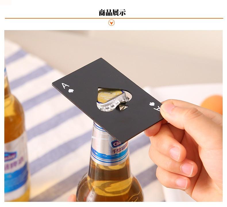 100 pièces bière noire ouvre bouteille Poker carte à jouer Ace de pique Bar outil Soda bouchon ouvre cadeau cuisine Gadgets outils - 1