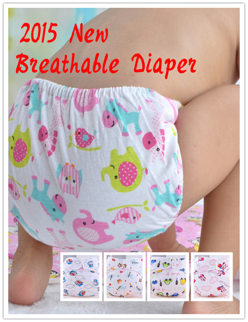 2Pcs Cute Baby Cotton Training Pants Babies Reusable Diapers Cloth Diaper Washable Infants Nappies Diapers