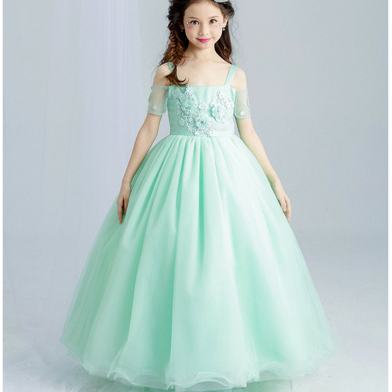 NEW Kids Girl Ball Gown Dress Girl wedding Lace Dress color green Princess Birthday Party Dress Children Clothing new high quality fashion excellent girl party dress with big lace bow color purple princess dresses for wedding and birthday