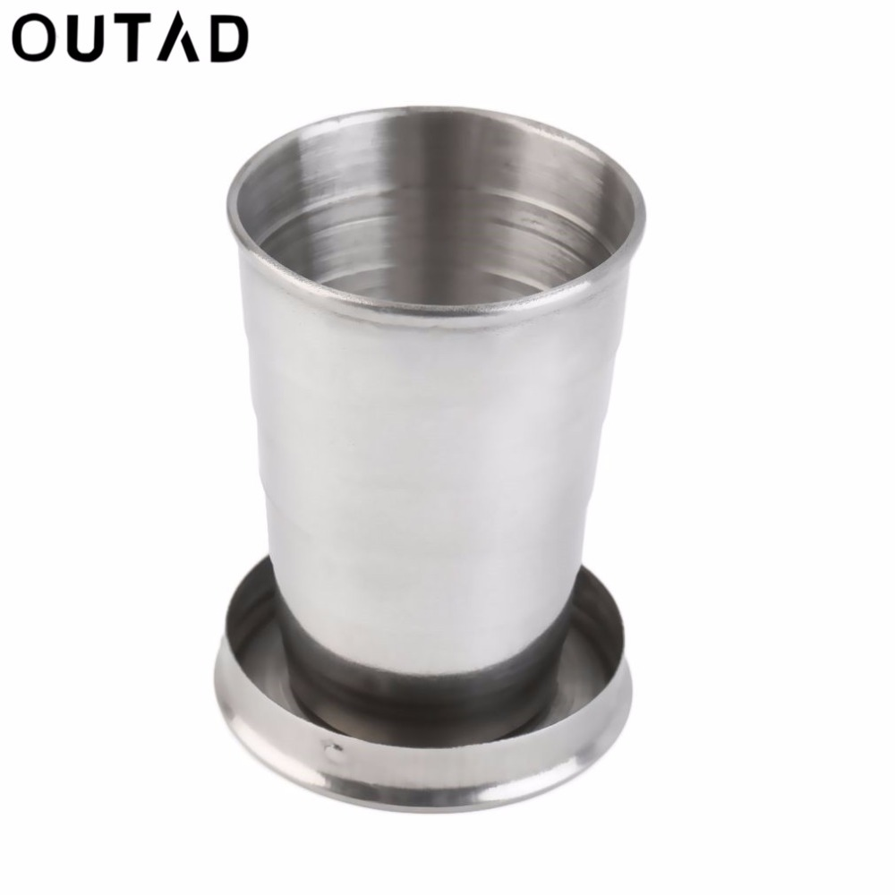 OUTAD High Quality 75ML Folding Stainless Steel Cup Outdoor Camping Travel Portable Collapsible Metal Mug drop shipping