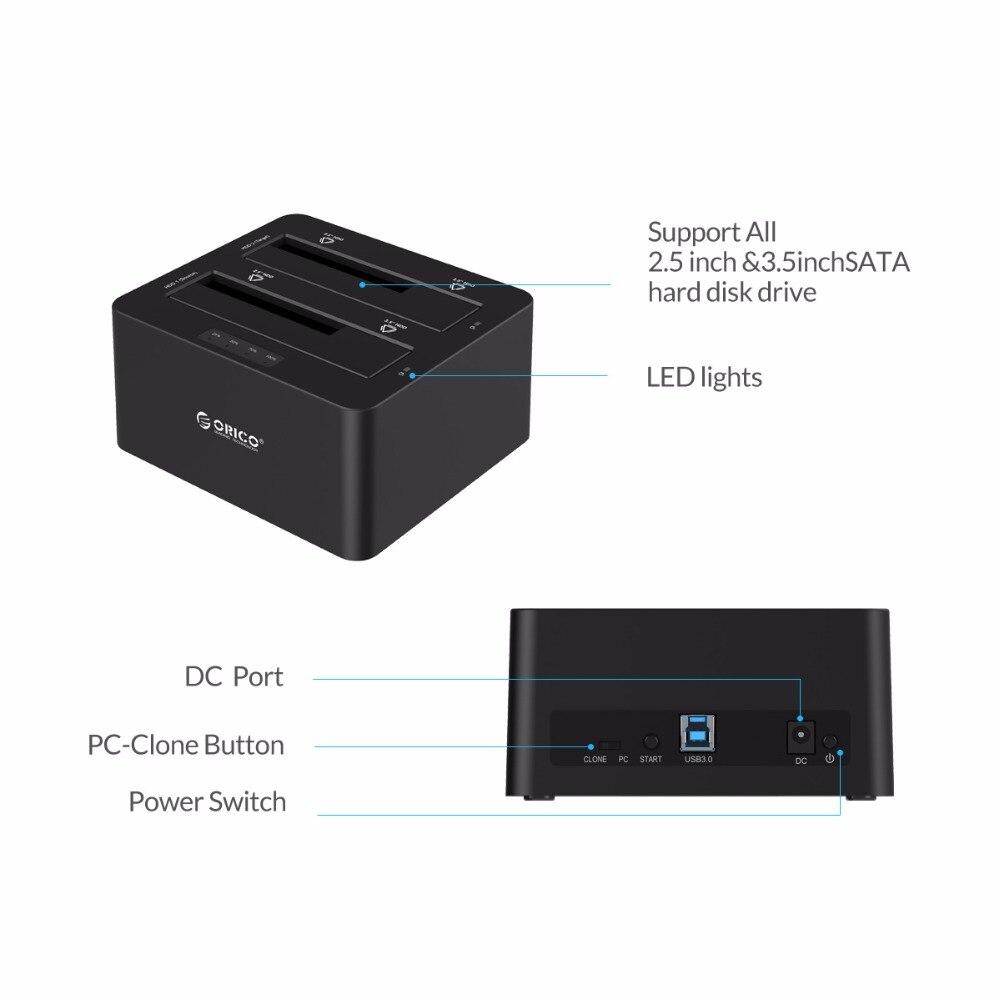 ORICO 6629US3-C 2 Bay SATA till USB3.0 Extern hårddisk Docking - Extern lagring - Foto 4