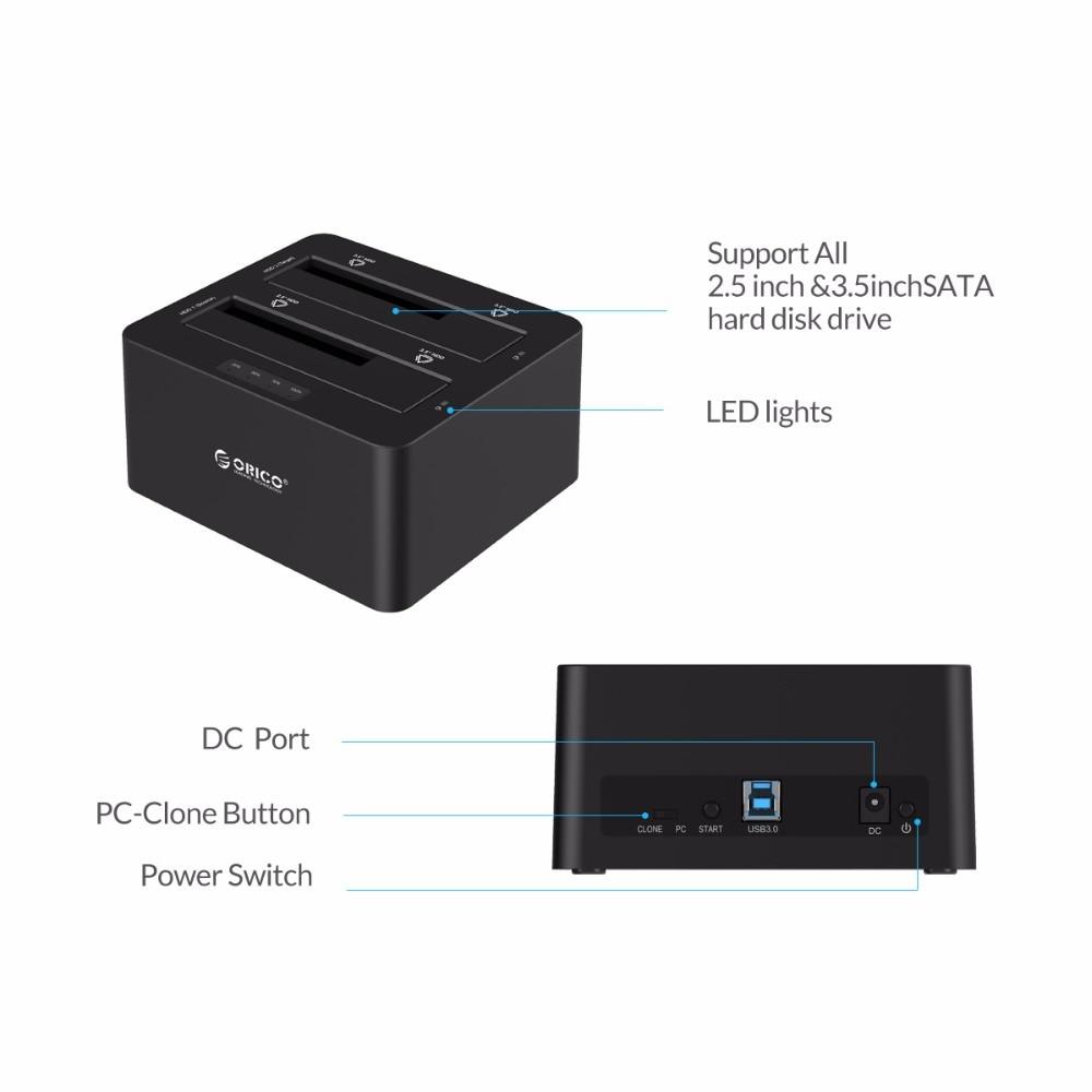 ORICO 6629US3-C 2 baie SATA vers USB3.0 Station d'accueil pour disque dur externe pour 2.5/3.5HDD avec fonction duplicateur/Clone-noir - 4