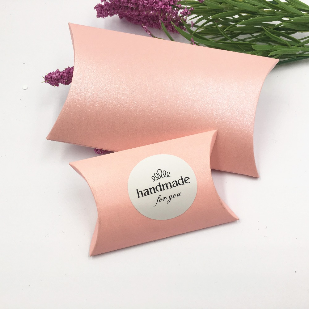 50pcs/100pcs  Pink Pillow Shape Cardboard Packing Gift Box Lovely Paper Box Handmade Soap Wedding Favor