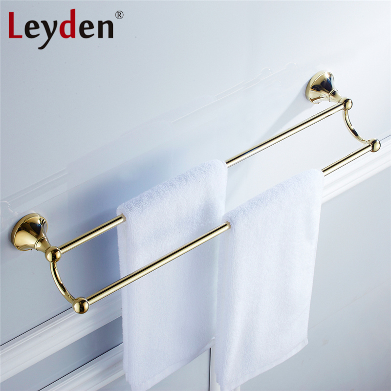Leyden ORB Antique Brass Golden Chrome Double Towel Bar Toilet Towel Bar Towel Rack Holder Wall
