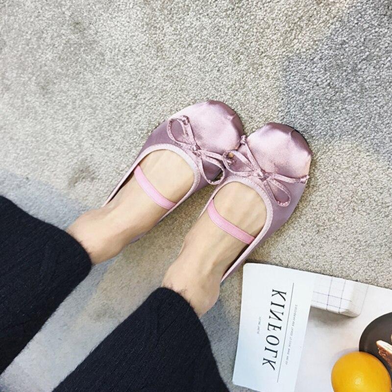 Bout Valentine Ballet red Up Black Femmes pink Élégant Soie Rond Monmoira Chaussures Swa0062 Dentelle Bowtie Appartements SRcWxX