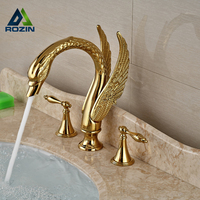 2016 New Design Luxury Copper hot and cold taps Swan Faucet Gold Plated Wash Basin Faucet Mixer Taps