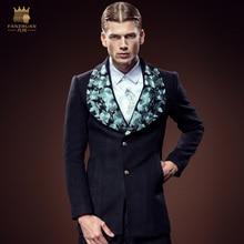 Бесплатная Доставка Новая мода 2016 мужчин мужская fanzhuan ретро дворец вышивка длинный тонкий Нагрудные кашемир толстые теплые пальто 0054 продажа