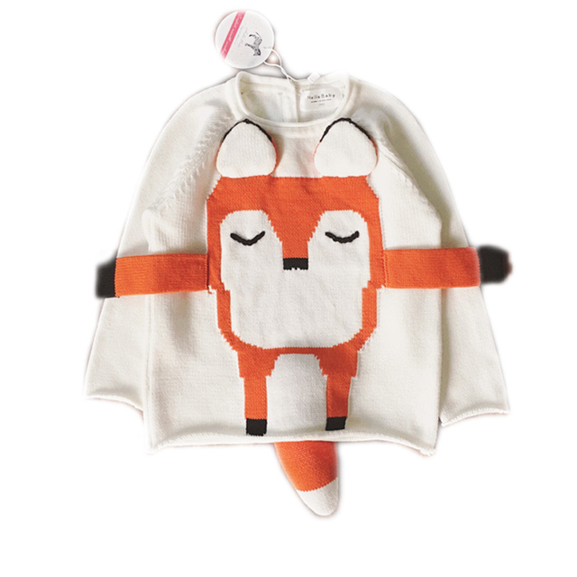 2016 blusas De Malha do bebê das meninas do bebê camisola outono inverno raposa dos desenhos animados pullovers camisolas das crianças das meninas outerwear para 1-4y