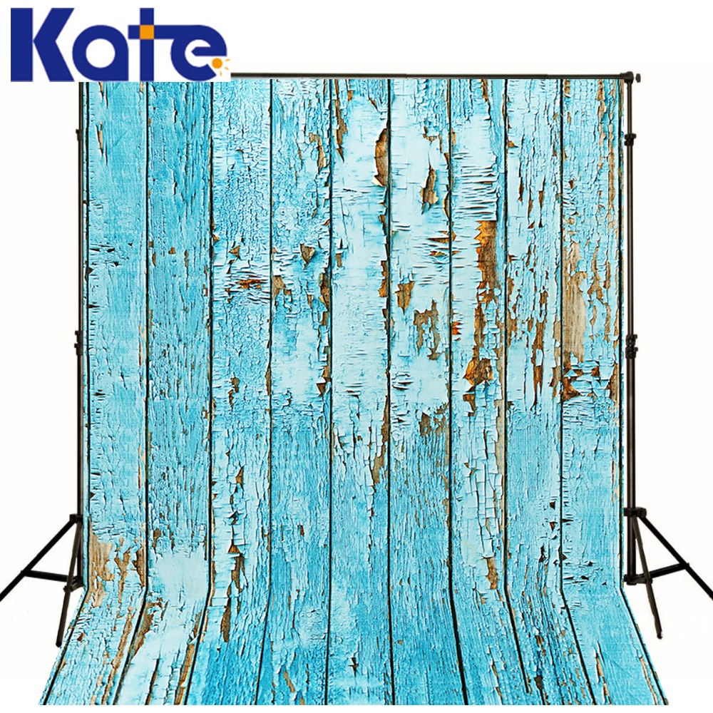 5 * 6.5FT (150 * 200 CM) Kate Wood Photography Backdrop Vintage Light Blue Backgrounds de fondo de piso de madera para fotografía WY00025