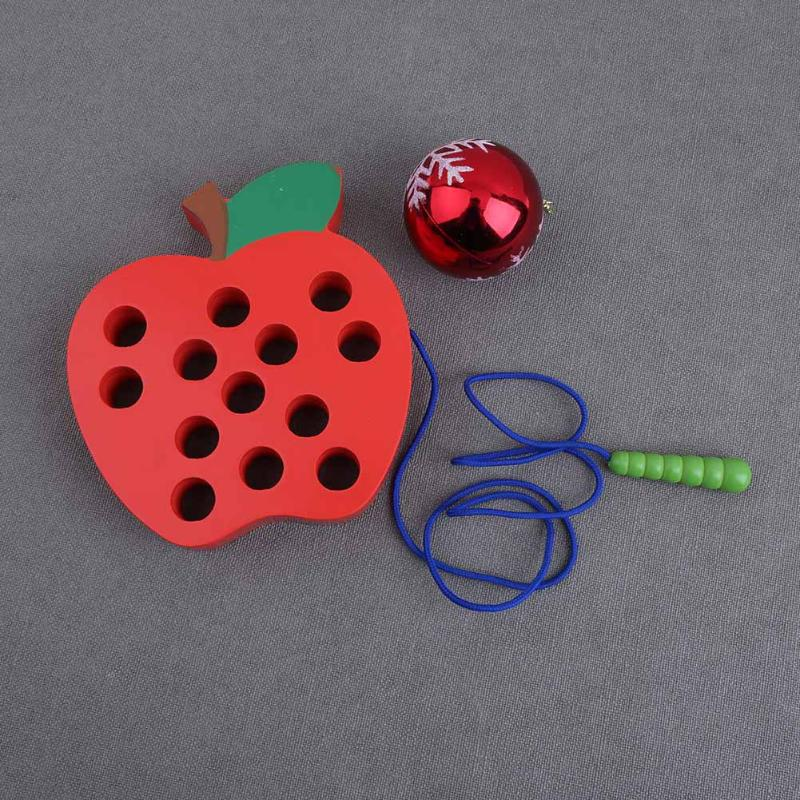 Wooden Threading Toy Worm Eat Apple Maze Toy For Children Birthday Gift Montessori Early Educational Toys For Preschool