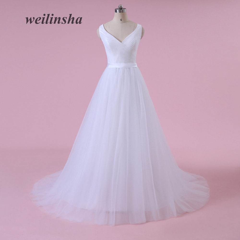 weilinsha New Simple 2018 V-neck Wedding Dresses A-line Sleeveless Tulle with Pleats Plus Size Vestido de Noiva