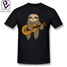 Sloth T Shirt Guitar T-Shirt Classic 100 Percent Cotton Tee Short-Sleeve Funny Men Graphic Oversize Tshirt