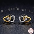 New product Original 925 sterling silver Gold Heart earrings compatible with pan Jewelry FOR Women Earrings gift