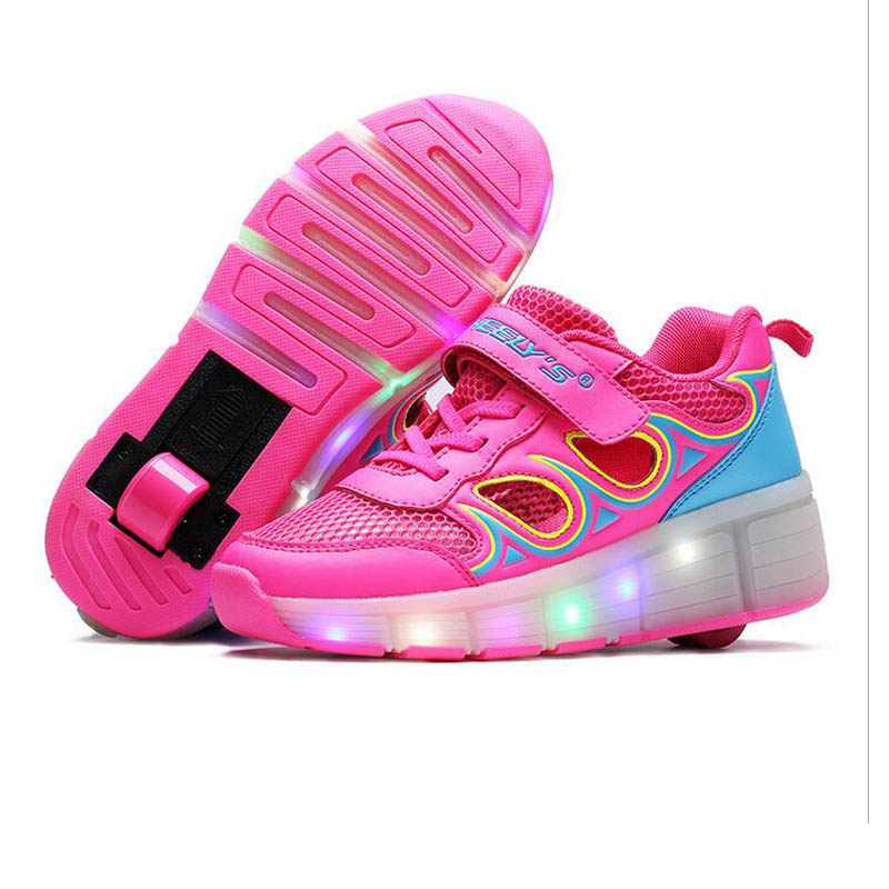 ФОТО Kids Light up Shoes 2017 Kids Sneakers Children Shoes LED Light Sneakers with Wheels Roller Skate Shoes For Kids Shoe Size 29-42
