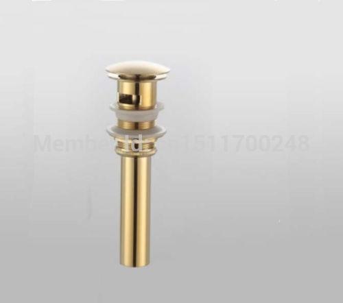 Golden Brass Bathroom Basin Pop Up Waste Vanity Vessel Sink Drain With Overflow