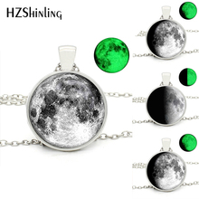 HZShinling Glowing in the Dark Full Glowing Moon Glass Round Necklace Womens Glowing Fashion Jewelry Glass Dome Pendant Necklace