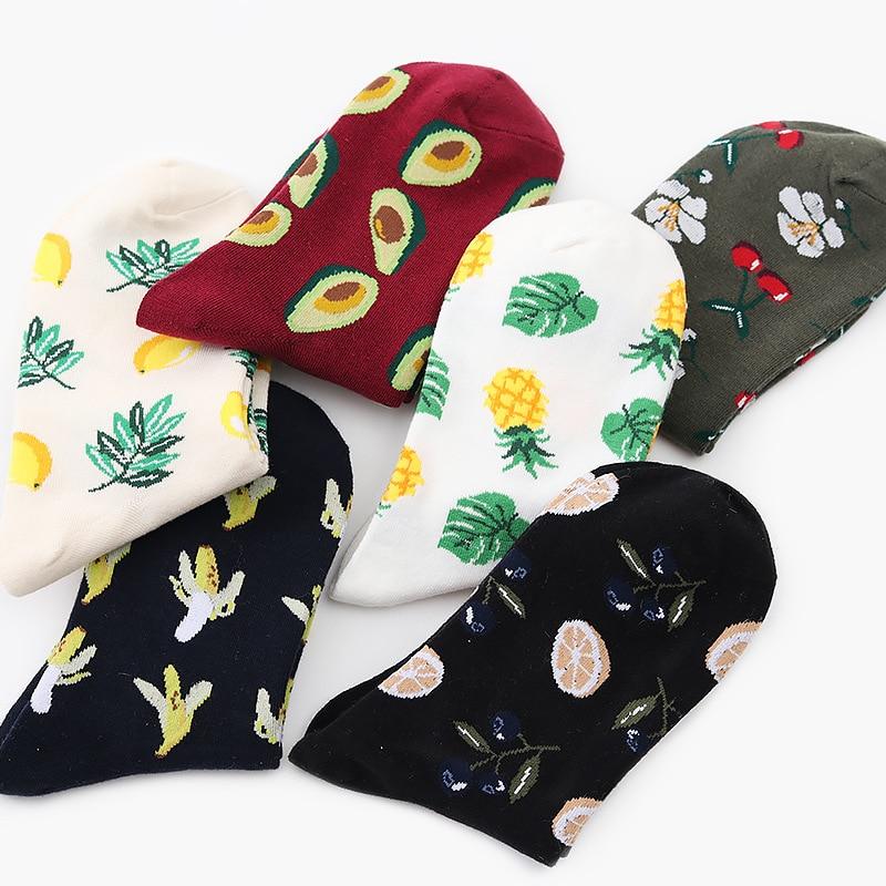 Funny Fruit Short Harajuku Socks Fashion Women Cherry Lemon Pineapple Patterned Socks Female Cotton Art Funny Socks Hipster Sox