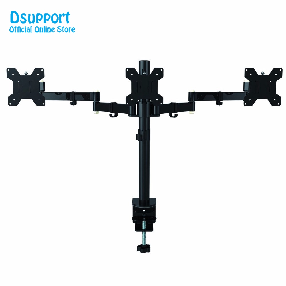 Fully Adjustable Triple Arm Three LCD LED Monitor Desk Stand Mount Bracket 360 degree Rotation 180 degree Pull Out Swivel Arm