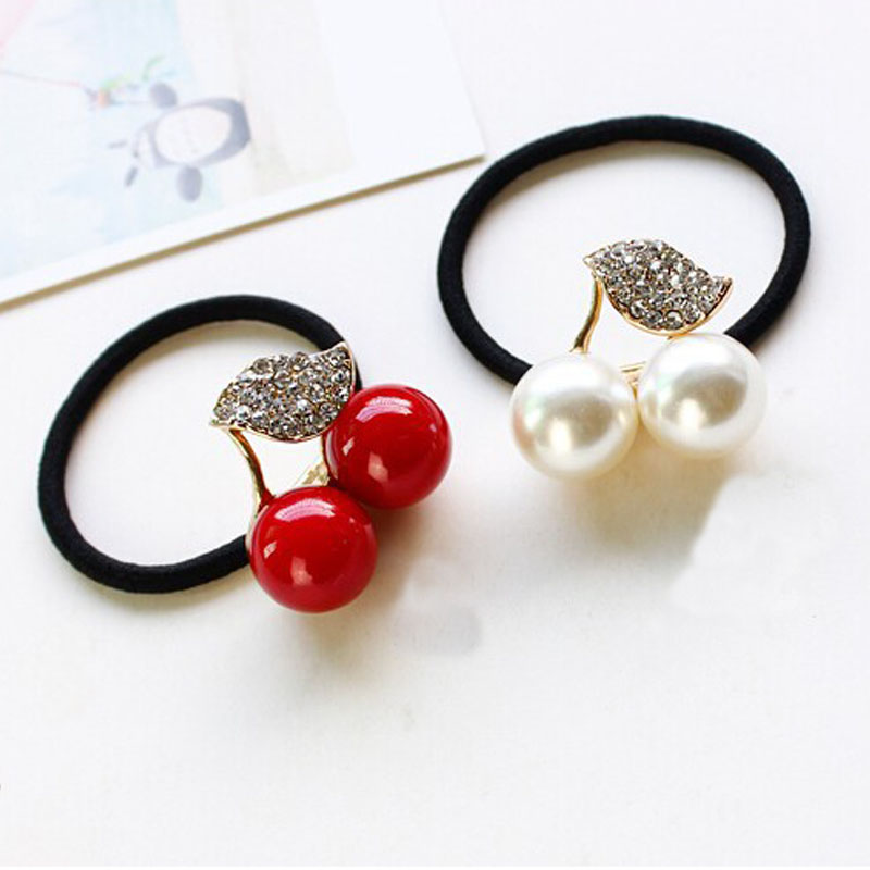 1pc Fashion Exquisite Pop Sweet Rhinestone Leaves Imitation Pearl Red and White Cherry Hair Rope Ring Ponytail Holder Jewelry