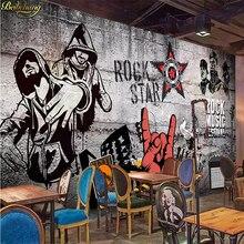 Beibehang, papel pintado de Grandes murales para bar musical, rock KTV industrial europeo personalizado, papel tapiz para dormitorio, decoración de pared en 3D, fondo para mejorar el hogar