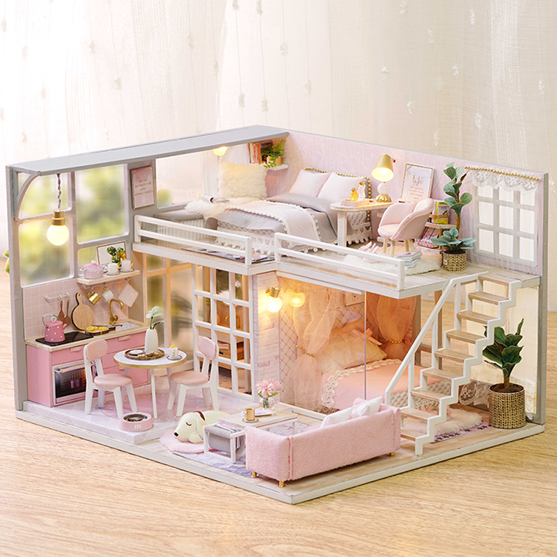 CUTEBEE DIY Doll House Wooden Doll Houses Miniature Dollhouse Furniture Kit Toys For Children Christmas Gift  L025