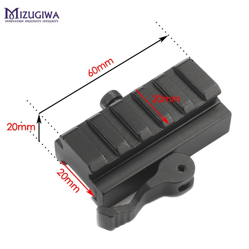 Airsoft 1/2 inch Half Inch Mini Riser Block Mount Metal QD 20MM Quick Release Mount Adapter Laser Hunting Scope Picatinny Rail quick release aluminum alloy gun mount clips for 20mm rail black 2 pcs