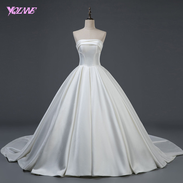 YQLNNE 2018 Wedding Dress Ball Gown Strapless Satin Lace-up Bridal Dresses