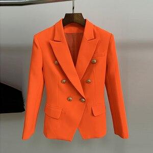 Image 2 - HIGH QUALITY Newest 2020 Designer Blazer Womens Lion Buttons Double Breasted Blazer Jacket Neon Orange