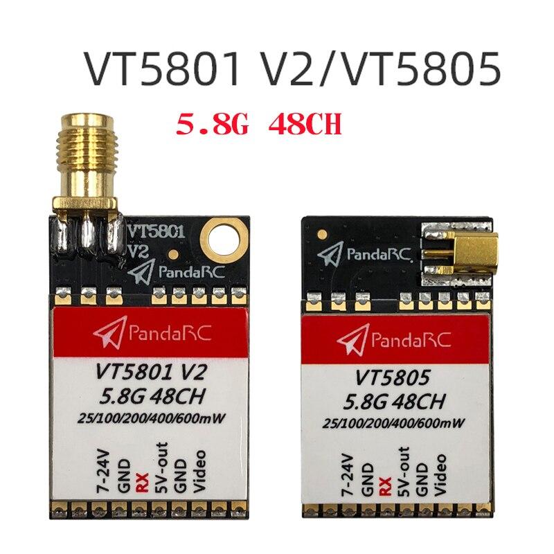 PandaRC VT5801 V2 VT5805 VT5804 FPV Video Transmitter 5.8G 48CH 25/100/200/400/600mW Switchable OSD Adjustable SMA MMCX VTX