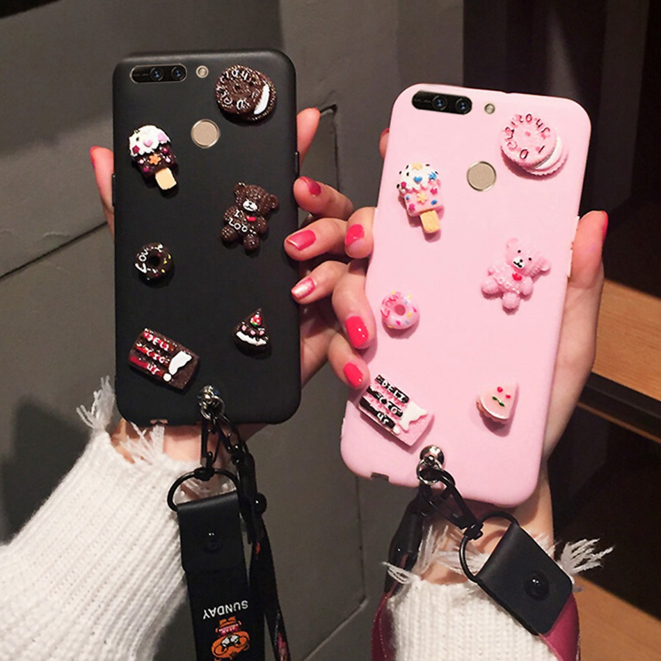 3D Cute Bear DIY Candy Case For OPPO F9 F7 Youth F5 F3 Cartoon Lanyard Cover For OPPO A5/A3S A73 Realme 1 2 Kawaii Soft Cases