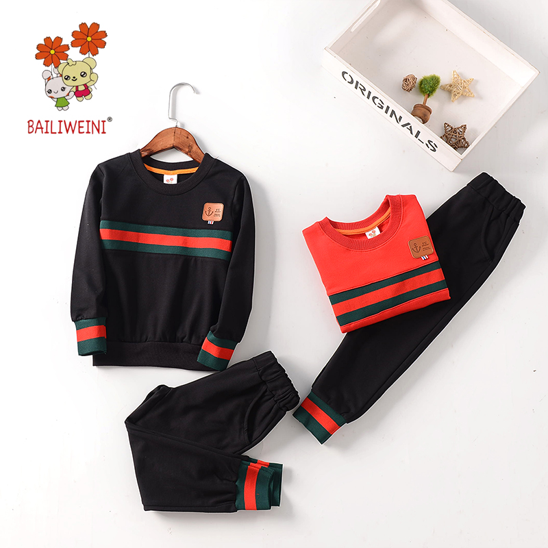 BAILIWIENI new boys and girls terry bar round neck suit children's autumn and winter fashion boys and girls fashion children's s цена