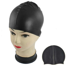 SEWS Hot Sale Black Soft Silicone Stretchable Swim Swimming Cap Hat for Adults