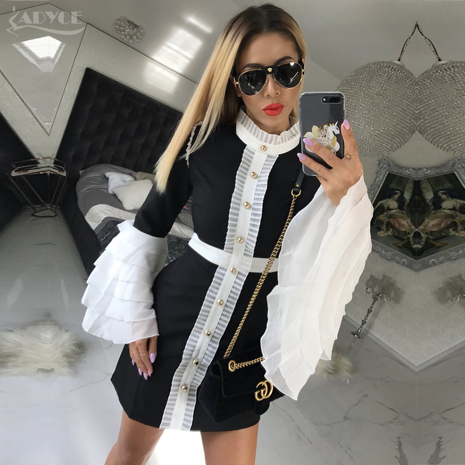 ADYCE 2018 New Fashion Ruffles Women Mini Bodycon Gold Button Party Dress Elegant White&Black Night Out Party Dress Vestidos