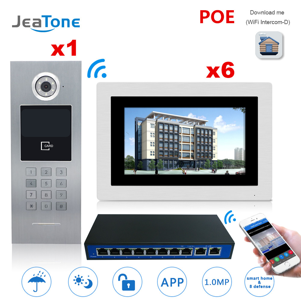 7'' Touch Screen WIFI IP Video Door Phone Intercom +POE Switch 6 Floors Building Access Control System Support Password/IC Card