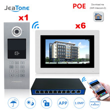 """7"""" Touch Screen WIFI IP Video Door Phone Intercom +POE Switch 6 Floors Building Access Control System Support Password/IC Card"""