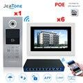 7 ''Touchscreen WIFI IP Video Deurtelefoon Intercom + POE Schakelaar 6 Verdiepingen Gebouw Toegangscontrole Systeem Ondersteuning wachtwoord/IC Card