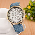 Classic Vintage Engish Words Jeans PU Leather Quartz Watch Wristwatches for Women Ladies Female Black Red OP001