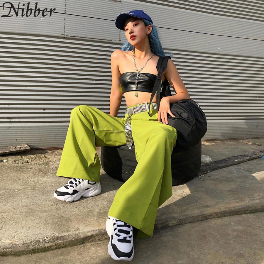 Nibber casual fashion   wide     leg     pants   women solid green black high waist elastic pocket streetwear going out full spring new 2019