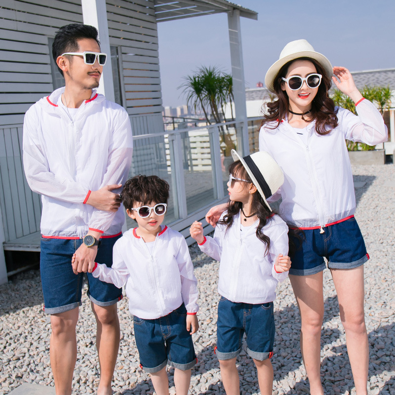 UPF50+ Family Matching Beach Shirrts Mothers and Daughters Clothes Zipper Dad Parent Children's Uv Protection Sunscreen Clothes