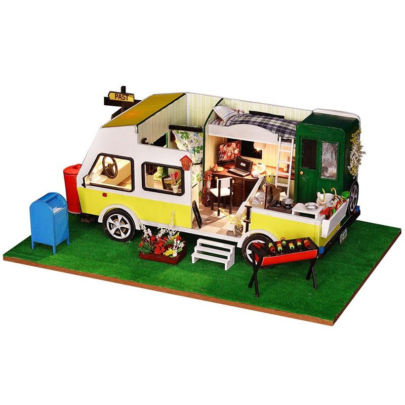 Assembling Diy Doll House Wooden Car Shape Boy's Gift RV Handmade Dollhouse Furniture Kit Room Led Lights Kids Christmas Gift