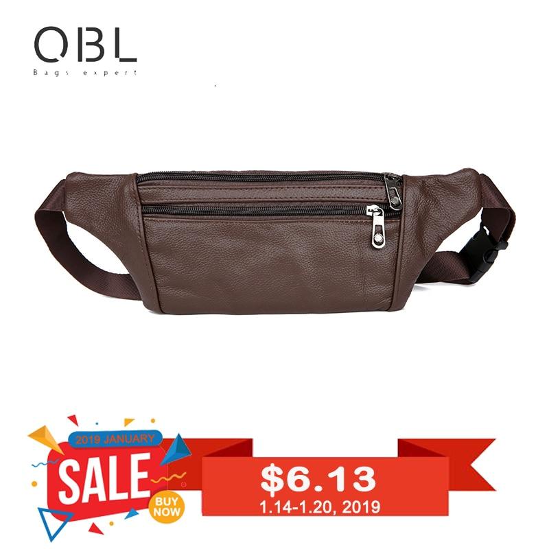 QiBoLu αγελάδα γνήσιο δερμάτινο παπούτσια ανδρών πακέτο Fanny πακέτο τσάντα αγκαλιά άνθρωπος πακέτο ταξιδιού μετρητά κάρτα πακέτο Bolso Cintura Ανδρών Borsa MBA20