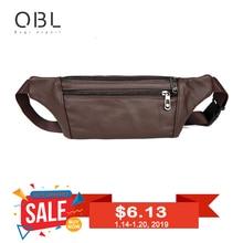 QiBoLu Cow Genuine Leather Men Waist Pack Fanny Pack Bum Bag Man Pouch Travel Cash Card