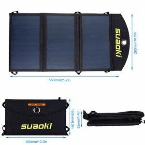 Image 4 - Suaoki 20 ワットソーラーパネル充電器高効率ポータブル太陽電池屋外ソーラーパネルデュアル USB 出力 Easycarry 太陽電池